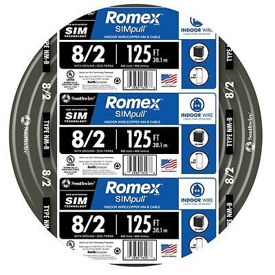 125-Ft Roll 8-2 AWG Gauge Indoor House Electrical Copper-Wire Ground Romex Cable