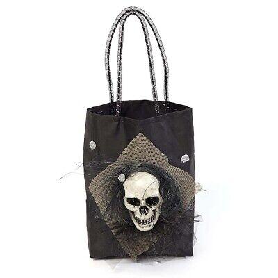 TOTENKOPF HANDTASCHE Halloween Karneval Voodoo Skelett Hexen Tasche Beutel Deko