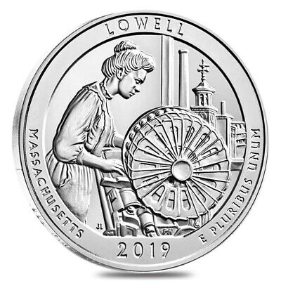 2019 5 oz Silver America the Beautiful ATB Massachusetts Lowell National