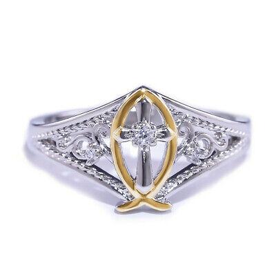 Fashion Cross Two Tone Wedding Ring Women 925 Silver White Sapphire Size -