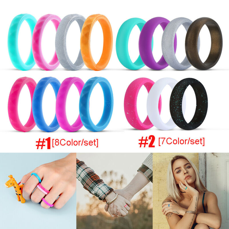 Silicone Wedding Ring Band Rubber 8 Pack Men Women Flexible Gifts Comfortable