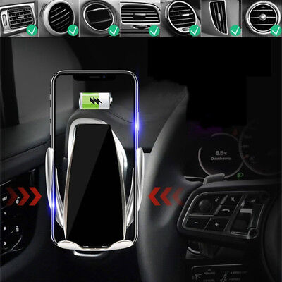 Automatic Infrared Sensor Phone Clamp Wireless Car Charger Mount A/C Vent Holder
