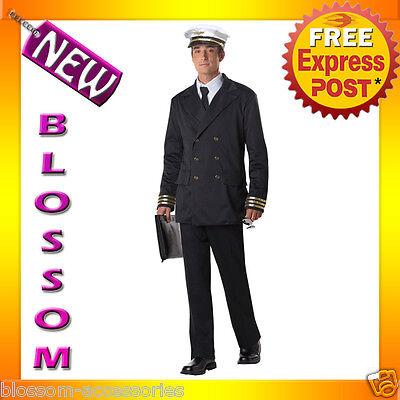 C764 Retro Pilot Flight Captain Airline Mens Uniform Fancy Dress Costume + Hat