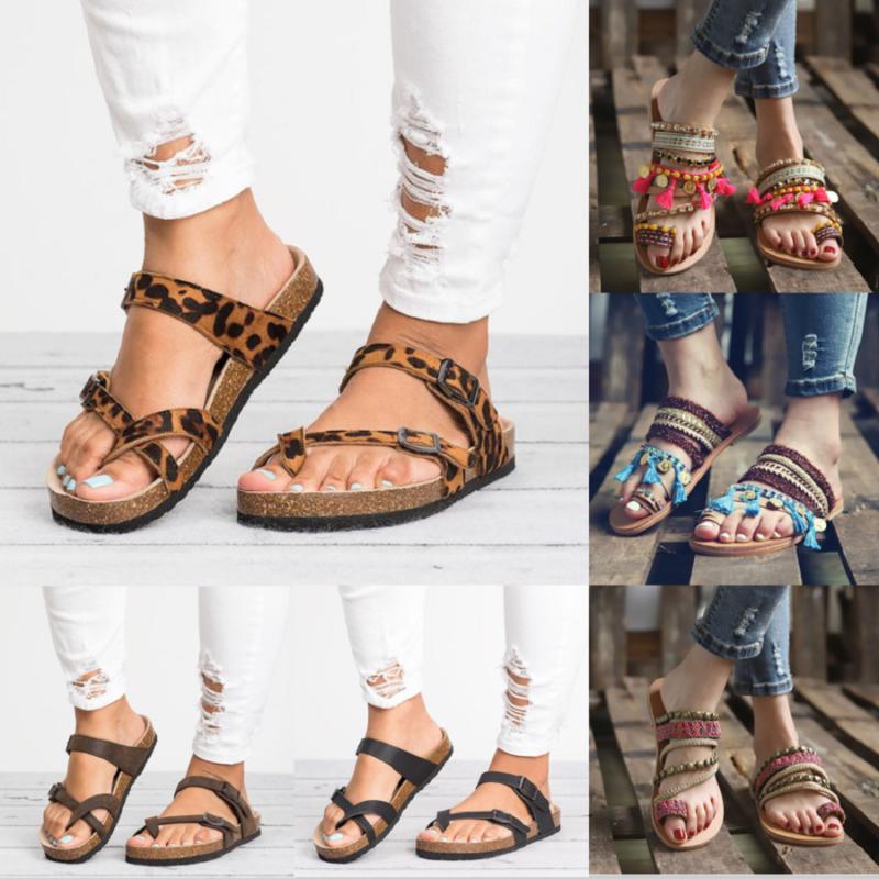 Womens Boho Flip Flops T-Strap Gladiator Platform Shoes Flat