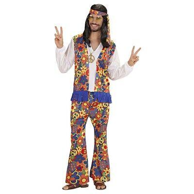 HIPPIE HERREN KOSTÜM Karneval 60er 70er Jahre Flower Power Fest Verkleidung 3525