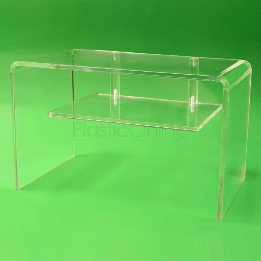 Clear Acrylic Plastic Table With Shelf Television Stand Unit Coffee Table Ebay