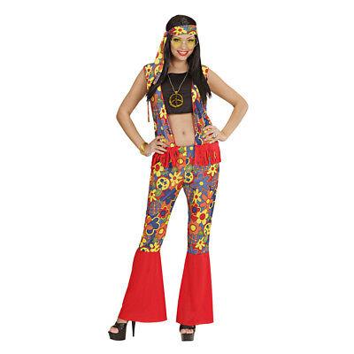 HIPPIE FRAU KOSTÜM Karneval 60er 70er Jahre Damen Flower Power Hippiekostüm 3526
