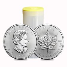Sale Price - Roll of 25 - 2019 1 oz Canadian Silver Maple Leaf .9999 Fine $5