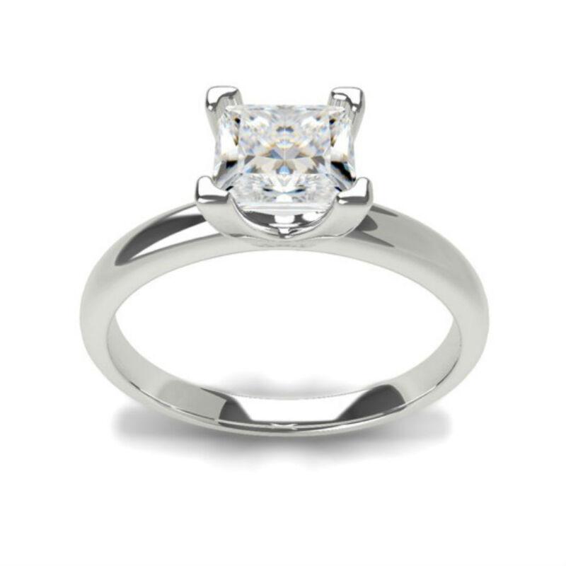 Stunning 1.00 Ct E Si1 Princess Cut Diamond Platinum  Ring New 4 Prong