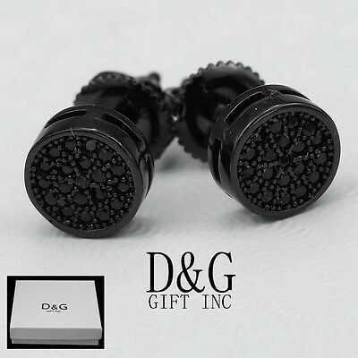 DG Men's Sterling Silver 925.Ice-Out 7mm Round,Black CZ Stud Earring*Unisex.Box Black Stud Earring Box