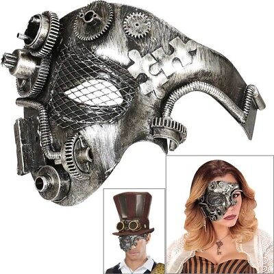STEAMPUNK HALB MASKE # Halloween Wave Gothic Fantasy Silber Kostüm Party 09648