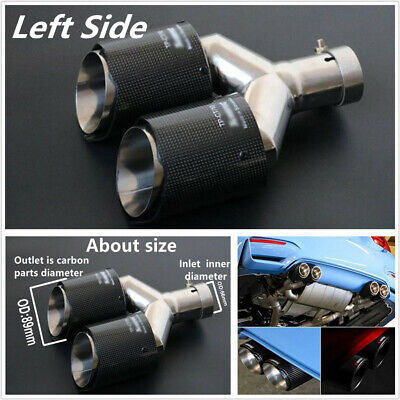 Left Side Glossy Black Carbon Fiber Car Straight Edge Dual Exhaust Pipe Tail Tip
