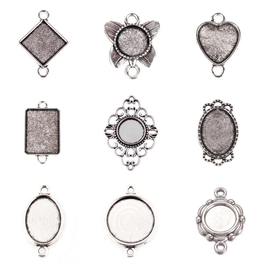5 Set Tibetan Pendant Glass Cabochon Bezel Settings Nickel Free Tray:15x15mm