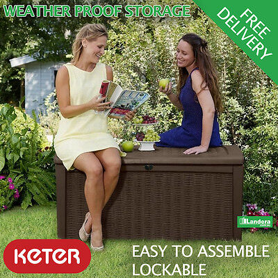 Keter Borneo Outdoor Garden Storage Box - Brown Seat Rattan Style 1.3m long