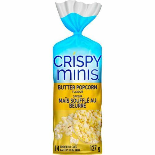 6X Quaker Crispy Minis Gluten-Free Butter Popcorn Rice Cakes 127g -FRESH!