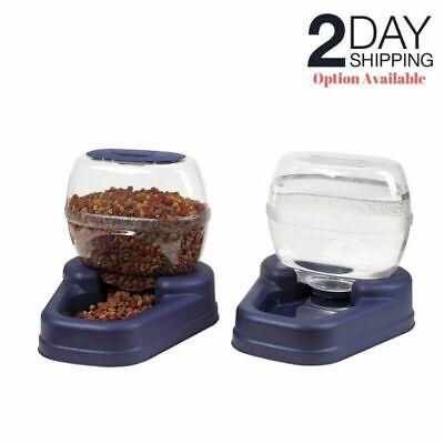 Automatic Pet Food Dispenser Dog Cat Feeder Waterer Set Home Auto Dish Bowl