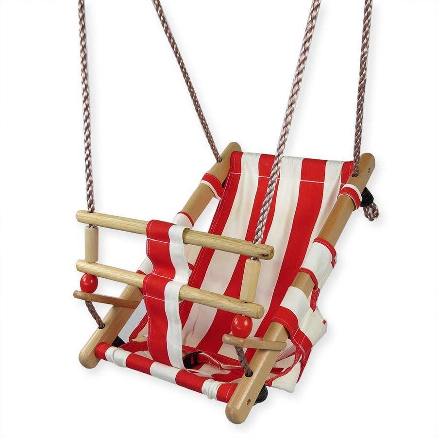Babyschaukel Schaukel Hängesitz für Baby aus Holz Stoff rot/weiß zum Aufhängen