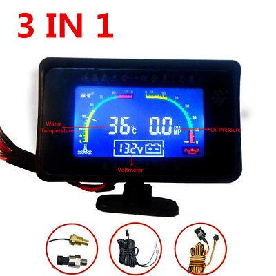 - Car Truck 12V/24V 3IN1 LCD Oil Pressure Gauge Monitor+Voltmeter+Water Temp Gauge