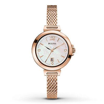 Bulova Women's 97P108 Diamond Markers Quartz Rose Gold Bracelet Watch