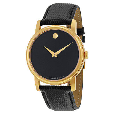 New Movado Museum Black Dial Black Leather Mens  Watch 2100005