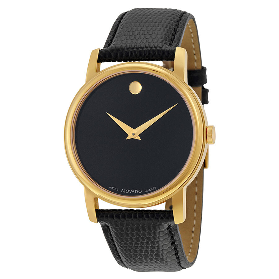 $182.00 - New Movado Museum Black Dial Black Leather Mens  Watch 2100005