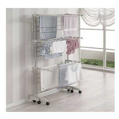 Stainless Foldable 6 Tiers Clothes Hanger Laundry Airer Drying Hanging Rack NEW
