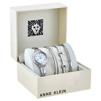 Anne Klein White Glossy Dial Ladies Watch and Bracelet Set AK/3414WTST