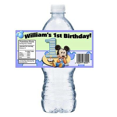 Baby Mickey Birthday (20 BABY MICKEY 1ST PERSONALIZED BIRTHDAY PARTY FAVORS ~ WATER BOTTLE)