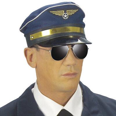 PILOTEN MÜTZE Hut blau Flieger Flugzeug Kapitän Air Pilot Kostüm Party Deko 3326
