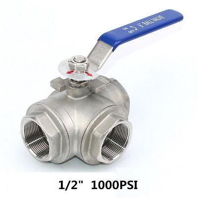 12 3 Way Ball Valve Three T Port Npt Stainless Steel 316 1000psi Water Oil Gas