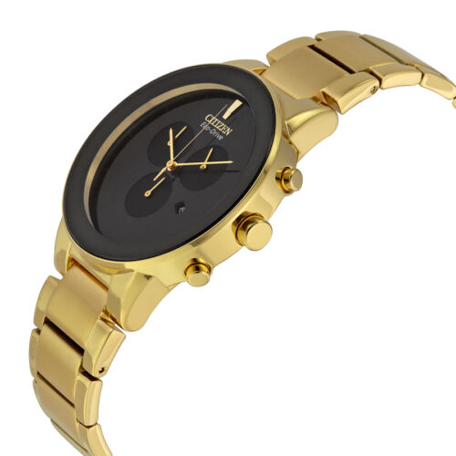 Citizen Axiom Eco Drive Chronograph Black Dial Gold-tone Mens Watch AT2242-55E