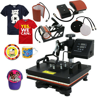 5 In 1 Heat Press Machine Transfer Sublimation Cap T-shirt Hat Printing 12x15