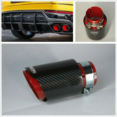 Sport Style Carbon Fiber Glossy Black+ Red 63mm-In 89mm-Out Exhaust Muffler Pipe