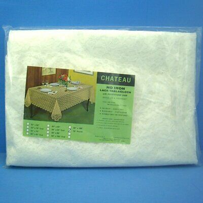 Chateau Liner - K558D Chateau No Iron Lace Tablecloth W/Polyethylene Liner 70