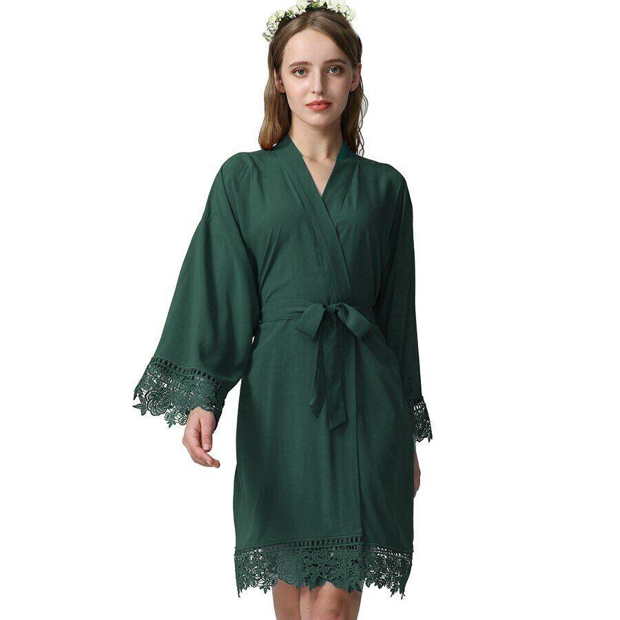Cotton Bride Robes w// Lace Trim Women Wedding Bridal Robe Short Belt Bathrobe 01