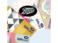 BOOTS GIFT CARD £250