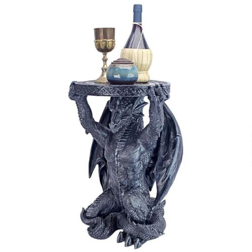 Medieval Dragon Gray Stone Finish Sculptural Side Table