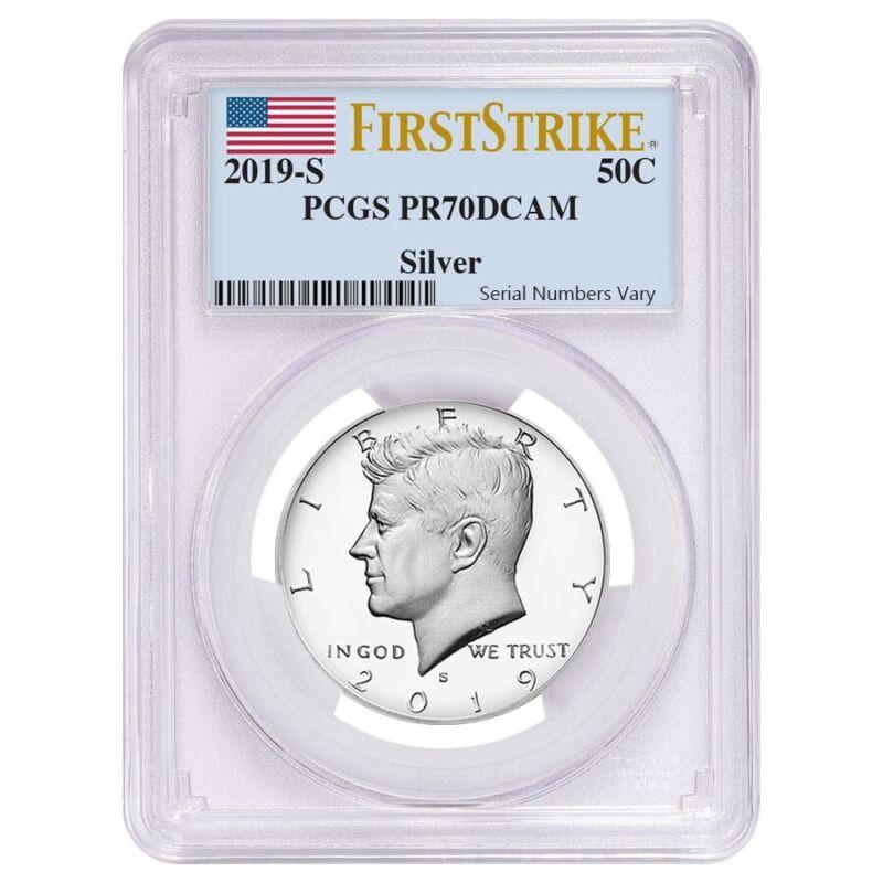 2019 S Proof Silver Kennedy Half Dollar First .999 Fine Silver PCGS PF 70 FS