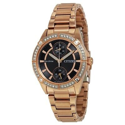 Citizen Eco Drive Women's Crystal Accents Black Dial 33mm Watch FD3003-58E