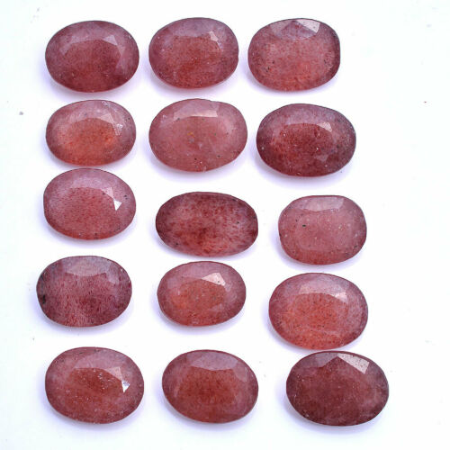 Strawberry Quartz Natural 122 Cts Oval Faceted Cut Loose Gemstones Lot 14mm-16mm
