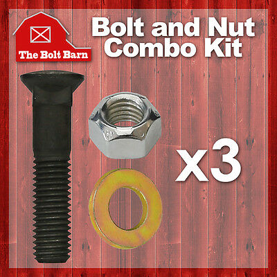 3 58-11x3 Grade 8 Dome Head Plow Blade Bolts 58-11 Hex Lock Nuts Washers