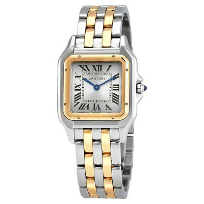 Cartier Panthere Silver Dial Ladies Stainless Steel and 18K Yellow Gold Watch