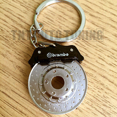 Brake Disc and Calipers Keychain Keyring   Chrome Metal NO PLASTIC Spinning
