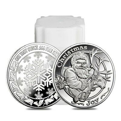 Christmas Roll (Roll of 20 - 1 oz Santa & His Reindeer Silver Christmas Round .999 Silver)