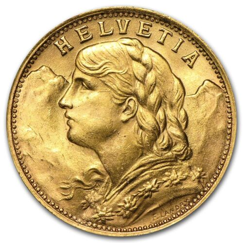 Купить Not Specified - Swiss Gold 20 Francs Helvetia AU (Random) - SKU #151896