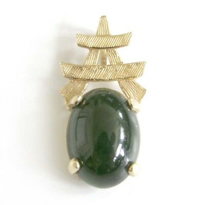 14K Gold Nephrite Jade Cabochon Pendant for Necklace w/ Chinese Oriental Symbol Chinese Symbol For Jade