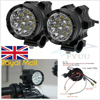 2 PCS 7800LM 180W 9 CREE CHIPS LED HEADLIGHT FOG SPOTLIGHT DRL WITH WI