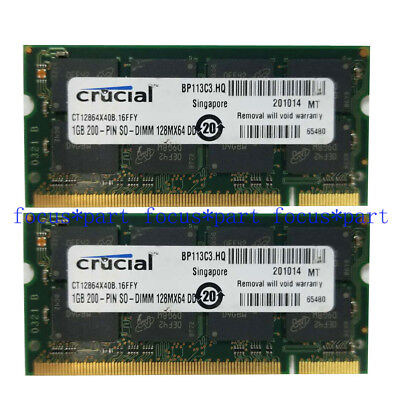 Crucial 2GB 2 x 1GB DDR Notebook PC3200 400MHz Laptop SODIMM Speicher RAM 200pin - 400 Sodimm Notebook-speicher