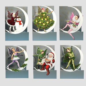 6 3D Moon Fairy Christmas Cards by Courtier with Fold Back Glitter ...