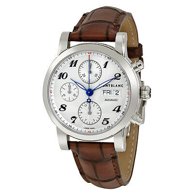 Montblanc Star Automatic Chronograph Silver Dial Brown Leather Mens Watch 106466